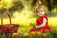 Piccola ragazza sveglia che si siede sull'erba Fotografie Stock