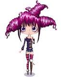 Piccola ragazza sveglia del fumetto con capelli rosa Anime del carattere Immagini Stock