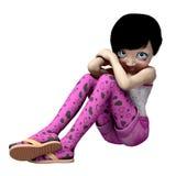 Piccola ragazza timida con i grandi occhi Immagini Stock Libere da Diritti