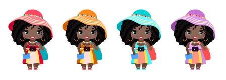 piccola ragazza turistica, nelle prendisole di estate, negli impedimenti, cappello, con una macchina fotografica, la borsa della  royalty illustrazione gratis