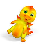 Piccola rappresentazione divertente del carattere 3d del drago illustrazione vettoriale