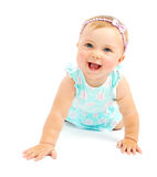 Piccola risata adorabile della neonata Fotografia Stock