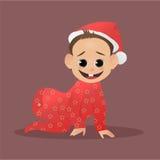 Piccola Santa divertente Bambino Claus Il primi Natale e nuovo anno Fotografia Stock Libera da Diritti