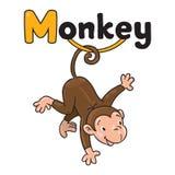 Piccola scimmia divertente sui lians Alfabeto m Immagini Stock Libere da Diritti