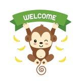 Piccola scimmia e benvenuto di iscrizione Illustrazione di vettore royalty illustrazione gratis