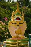 Piccola scultura bianca di un elefante Mya Tha Lyaung Reclining Buddha Pegu Myanma burma fotografia stock