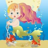 Piccola sirena con capelli rossi illustrazione vettoriale