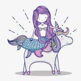 Piccola sirena con il fumetto di arte dell'unicorno illustrazione vettoriale
