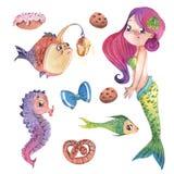 Piccola sirena sveglia dipinta a mano con i pesci ed i dolci, insieme di clipart dell'illustrazione dell'acquerello Immagini Stock