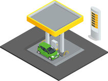Piccola stazione di servizio Automobili della stazione della ricarica della benzina del petrolio del gas Vettore infographic isom Fotografie Stock