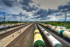 Piccola stazione ferroviaria in Russia Fotografie Stock Libere da Diritti