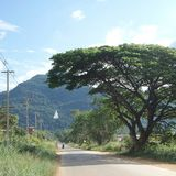 Piccola strada che conduce a grande Buddha bianco sulla montagna verde sotto il cielo blu Immagine Stock