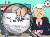 Piccola strategia aziendale tramite la lente Concetto di scarabocchio Fotografia Stock