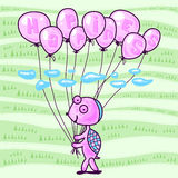 Piccola tartaruga con i palloni Fotografia Stock