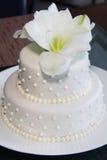 Piccola torta di cerimonia nuziale graziosa moderna fotografie stock libere da diritti