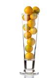 Piccole arance nel vetro   fondo bianco Fotografie Stock