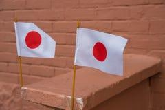 2 piccole bandiere giapponesi Immagini Stock