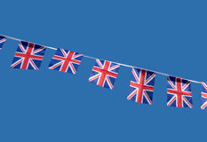 Piccole bandierine britanniche di celebrazione del Jack del sindacato. Fotografia Stock