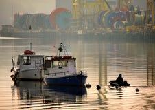 Piccole barche, grande fiume Immagini Stock