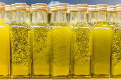 Piccole bottiglie di olio d'oliva vergine Fotografia Stock