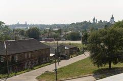 Piccole case di vettore Vista dalla cima delle montagne di Boldin, Cernigov, Ucraina 15 luglio 2017 Fotografia Stock