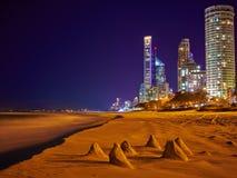 Piccole dune di sabbia e Skycrappers Fotografie Stock