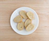 Piccole fette di pane francese su un piatto bianco Fotografia Stock Libera da Diritti