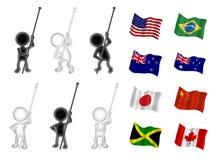 Piccole figure degli uomini che tengono le bandiere Immagine Stock