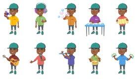 Piccole illustrazioni africane di vettore del ragazzo messe illustrazione vettoriale