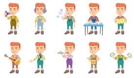 Piccole illustrazioni caucasiche di vettore del ragazzo messe royalty illustrazione gratis