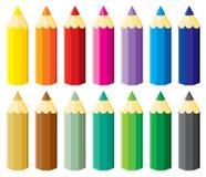 Piccole matite impostate Fotografia Stock