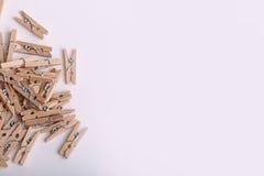 Piccole mollette di legno sveglie Immagine Stock
