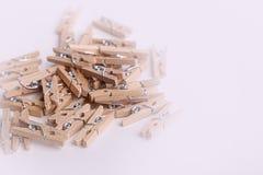 Piccole mollette di legno sveglie Fotografia Stock