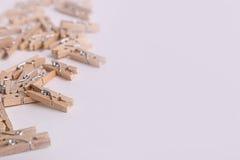 Piccole mollette di legno sveglie Immagine Stock Libera da Diritti