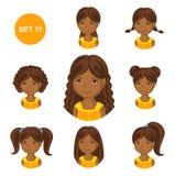 Piccole ragazze africane sveglie con vario stile di capelli illustrazione vettoriale
