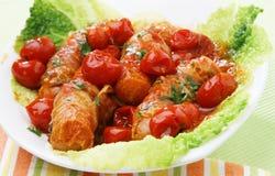 Piccole salsiccie con i germogli Fotografia Stock Libera da Diritti