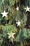 Piccole stelle, simboli di inverno e fondo Fotografia Stock