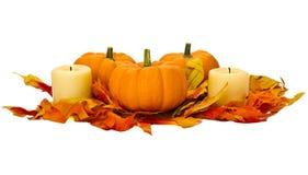 Piccole zucche e candele con i fogli di caduta Immagine Stock Libera da Diritti