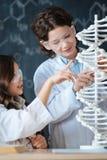 Piccoli allievi amichevoli che partecipano all'esperimento medico alla scuola Fotografia Stock