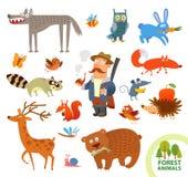 Piccoli animali della foresta divertente stabilita Personaggio dei cartoni animati Fotografia Stock Libera da Diritti