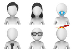 piccoli avatar della gente bianca 3d illustrazione di stock