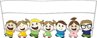 Piccoli bambini con l'insegna in bianco Fotografia Stock Libera da Diritti