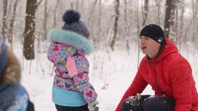 Piccoli bambini svegli che giocano nelle palle di neve con il papà archivi video