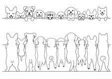Piccoli cani diritti anteriori e linea posteriore insieme del confine di arte illustrazione di stock