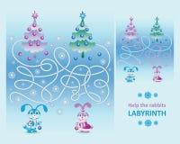 Piccoli conigli svegli Aiuti i conigli a decorare l'albero di Natale illustrazione vettoriale