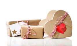 Piccoli contenitori di regalo fatti a mano Fotografie Stock Libere da Diritti