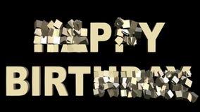 Piccoli contenitori di regalo giranti 3d che creano buon compleanno, bello fuoco d'artificio multicolore su fondo Festa di comple archivi video