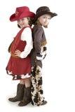 Piccoli cowgirls più svegli Fotografia Stock