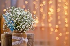 Piccoli fiori bianchi su un fondo delle lanterne gialle Immagini Stock