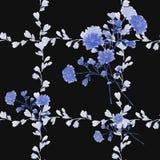 Piccoli fiori del modello senza cuciture e mazzi blu e rami grigi sui precedenti neri watercolor illustrazione di stock